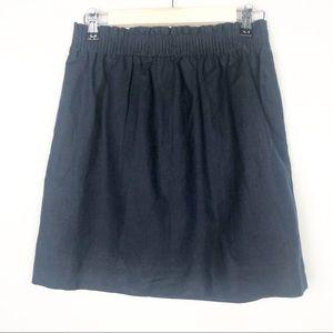 J Crew Navy linen blend pull on skirt